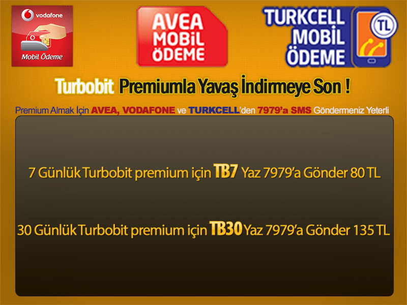 Mobil Ödeme ile Turbobit, Hitfile Premium alın